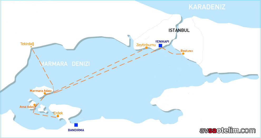 Avşa Adası Ulaşım Haritası